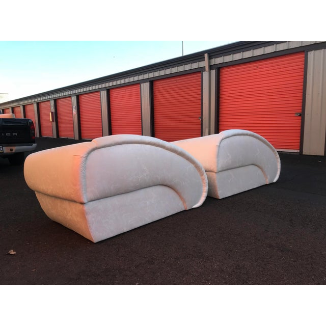 Textile Sculptural Cloud Chaise Lounge Sofas by Marge Carson -A Pair For Sale - Image 7 of 12
