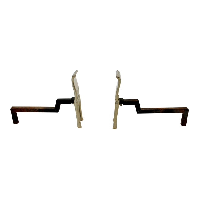 Mid Century Modern Virginia Metalcrafters Modernist Nickel Plate Andirons 1960s For Sale