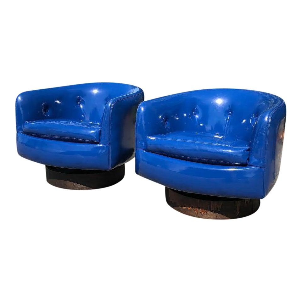 1980s Vintage Thayer Coggin Swivel Rock Roxy Tub Chairs - A Pair ...