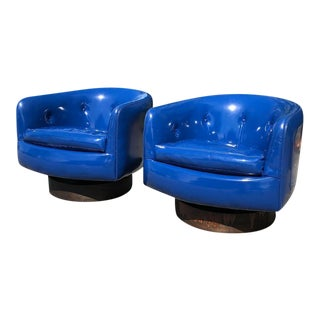 Vintage Milo Baughman for Thayer Coggin Swivel & Rock Roxy Tub Chairs - a Pair For Sale