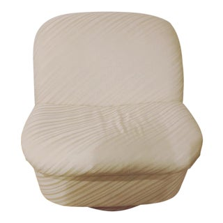 Directional Mid-Century Modern Off-White Upholstered Swivel Chair For Sale