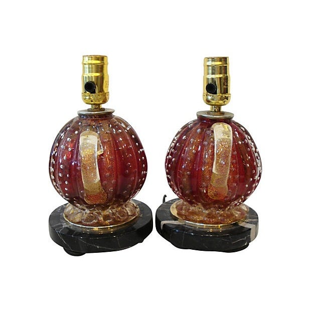 Barovier & Toso Glass Lamps - A Pair For Sale - Image 5 of 6