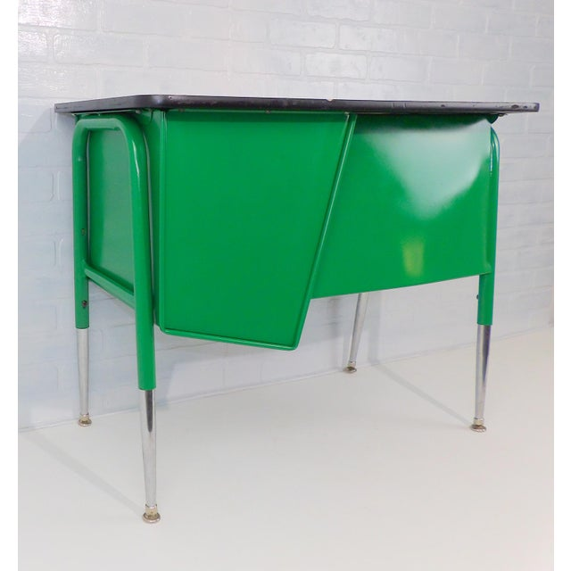 Green Mid-Century Kelly Green Petite Tanker Office Desk For Sale - Image 8 of 9