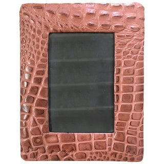 Embossed Alligator or Crocodile Leather Photo or Picture Frame, Pair Available For Sale