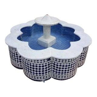 Blue & White Moroccan Mosaic Fountain For Sale