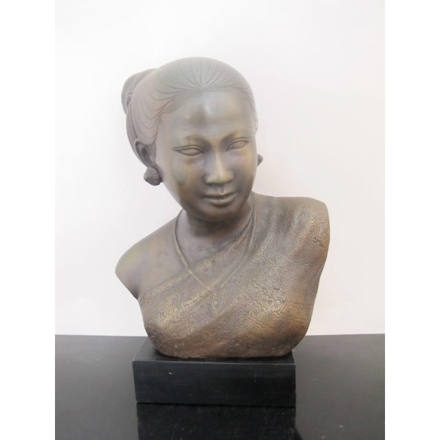 20th Century Figurative Bronze Sculpture of Burmese Thai Woman Female Bust For Sale - Image 9 of 9