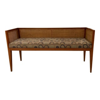 Mid Century Modern Danish Style Slim Bench With Rattan For Sale