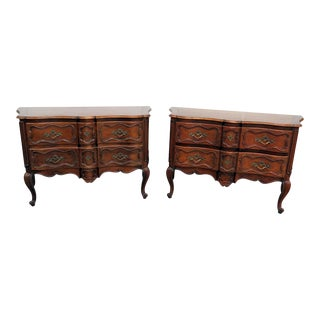 Companion Pair of Baker Country French Commodes For Sale