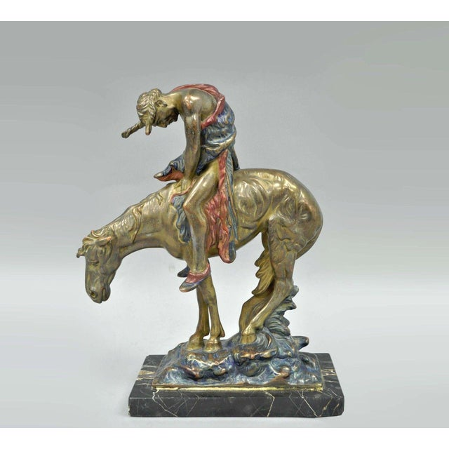 Austrian Cold Painted Bronze End of Trail Statue Sculpture After James Fraser For Sale - Image 11 of 11