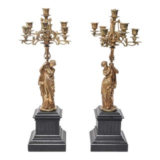 Mathurin Moreau Style French Neoclassical Style Figural Ormolu Candelabras - a Pair For Sale