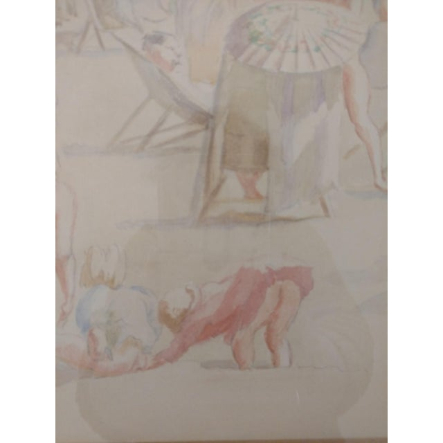 Figurative 1920 French Nude Beach by Thérèse Lessore Paintings - a Pair For Sale - Image 3 of 13