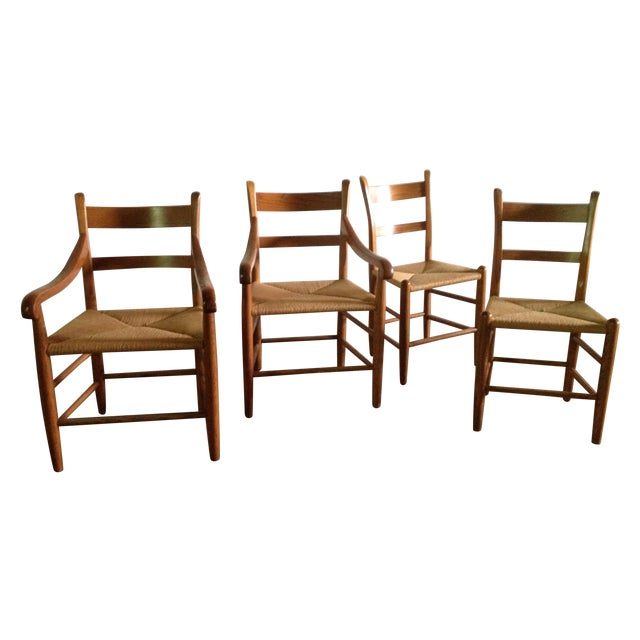 American Dining Chairs With Rush Seats - Set of 4 - Image 1 of 4