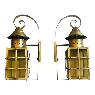 1990s Vintage Outdoor Brass Lanterns - A Pair For Sale