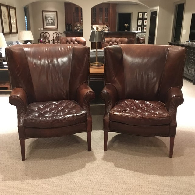 Traditional Restoration Hardware Leather Drake Wingback Chairs - a Pair For Sale - Image 12 of 12