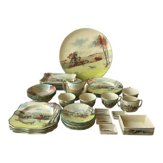 Royal Doulton Fox Hunting D 5104 Dish Set - 40 Pieces For Sale