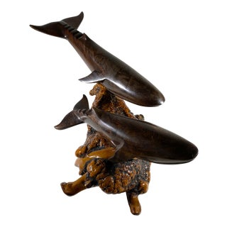 1970s Hand Carved and Polished Dark Brown Ironwood Burl 2 Whale Figurine For Sale