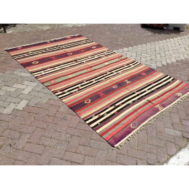 Vintage Striped Turkish Kilim Rug For Sale - Image 11 of 11