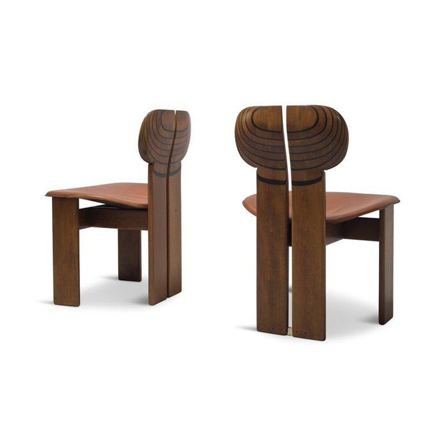 Mid-Century Modern Africa Chairs by Afra and Tobia Scarpa With Cognac Leather Seating For Sale - Image 3 of 12