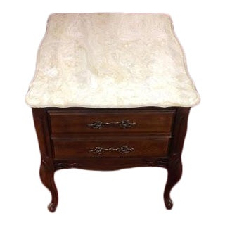 Vintage Hammary Faux Marble Top End Table For Sale