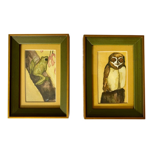 1970s Frog and Owl Watercolor Paintings, Framed - a Pair For Sale
