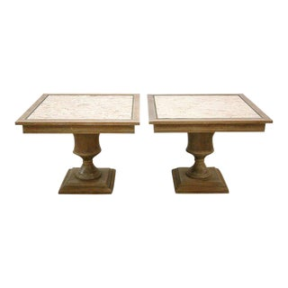 Custom Cerused Oak, Brass and Marble End Tables - A Pair