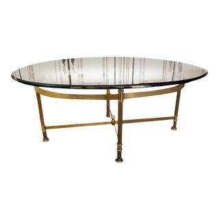 Mid-Century Modern Labarge Hollywood Regency Style Oval Glass Top Solid Brass Coffee Table For Sale