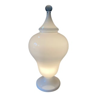 Large Italian Opaline Blown Glass Urn Lamp For Sale