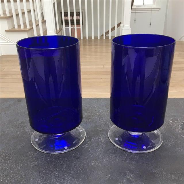 Cobalt Blue Glass Hurricanes - Image 3 of 6