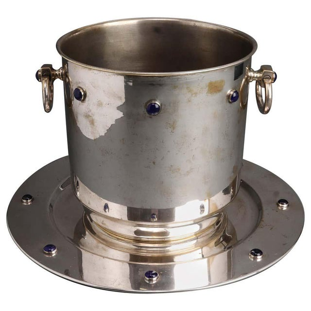 Modern Silver Plate Ice Bucket & Tray With Blue Cabochon Decor - 2 Piece Set For Sale In New York - Image 6 of 6