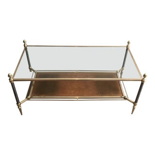 Brushed Steel and Brass Coffee Table With Brown Leather by Maison Jansen