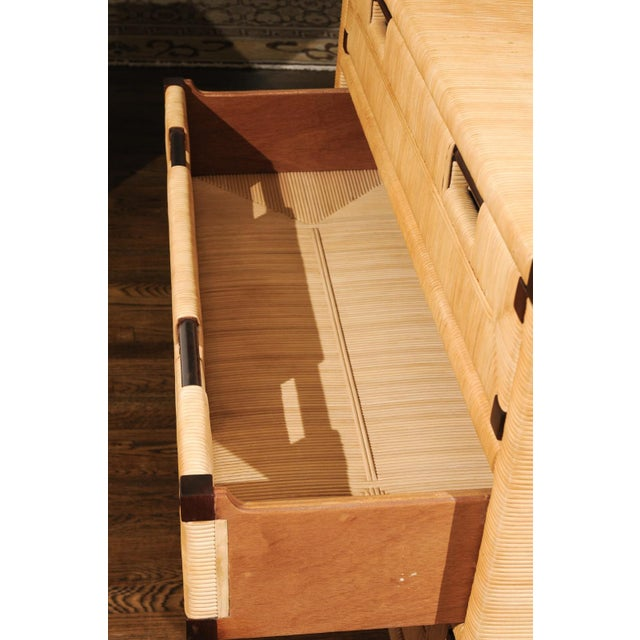 1990s Gorgeous Mahogany and Wicker Commode by John Hutton for Donghia, Circa 1995 For Sale - Image 5 of 13