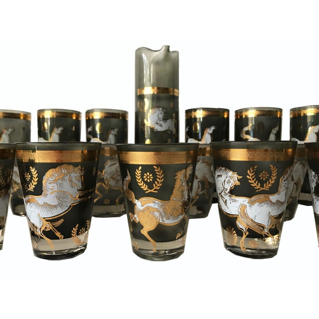 Vintage mid century/ retro barware with horses. This extensive, 18 piece set of cocktail glasses is comprised of 6...