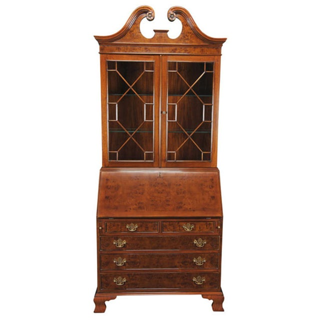 2010s Traditional Burled Secretary Desk For Sale - Image 5 of 5