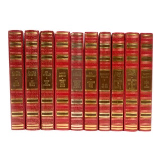 French Leather Bound Books S/10 For Sale