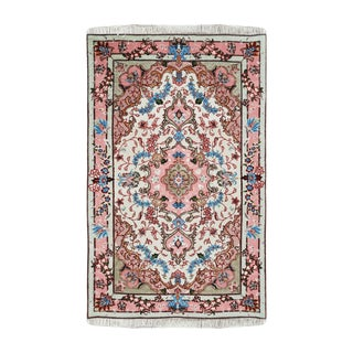 """Tabriz Wool and Silk Persian Rug 2'7"""" X 4' For Sale"""