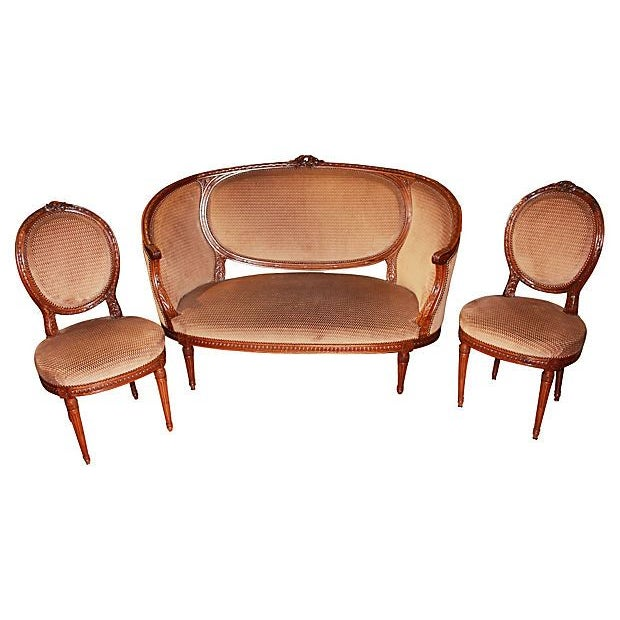 French Louis XVI-Style Settee & Chairs - Set of 3 For Sale