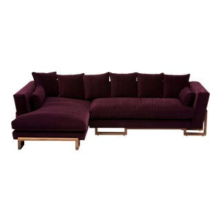Walnut Base Sectional in Eggplant For Sale