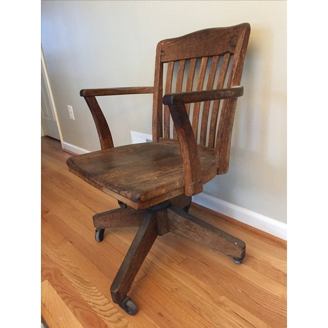 Rolling Wood Desk Chair - Image 4 of 5