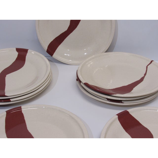 Abstract Tiffany & Co. Terra Cotta Earthenware Plates - Set of 12 For Sale - Image 3 of 5