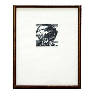 Mid Century Modern Leonard Baskin Wood Etching Pictor Ignotus Framed 89/175 For Sale