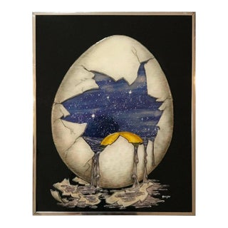 Dimensional Artwork of an Egg Holding a Universe by Geiger For Sale