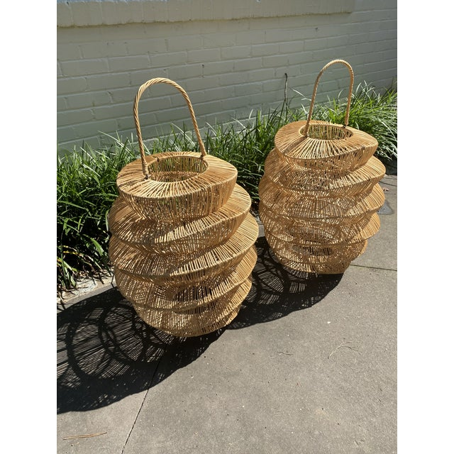 Palacek Style Rattan Hurricane Lanterns - A Pair For Sale - Image 4 of 6