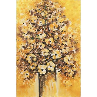 'Still Life of Daisies', Large 1970's Rustic Oil Painting For Sale