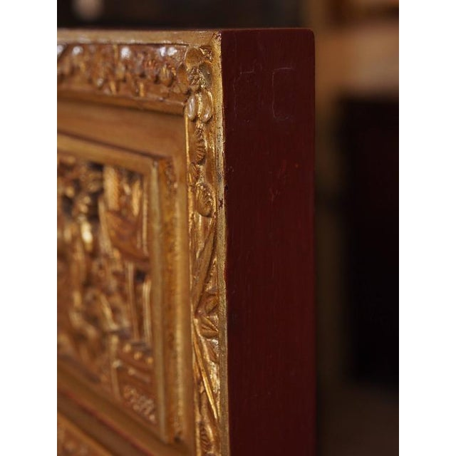 Gold Antique Chinese Four-Panel Screen For Sale - Image 8 of 10