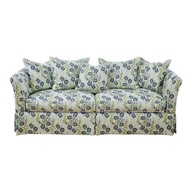 Custom Sofa in Ferrick Mason's Heather - Soft Jade For Sale