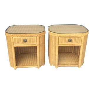 Vintage Wicker Nightstands - A Pair