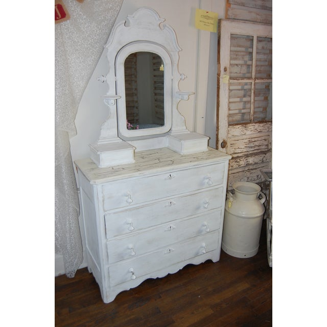 Vintage Shabby Chic White Dresser With Mirror - Image 2 of 11