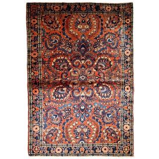 1920s Handmade Antique Persian Sarouk Rug 3.2' X 5.3' For Sale