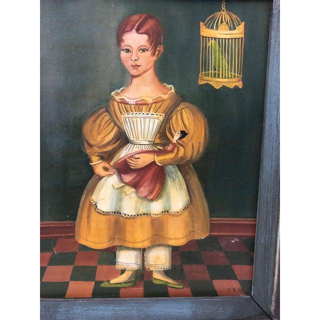 Folk Art Folk Art Portraits by Jean Halter in Original Frames - a Pair For Sale - Image 3 of 12