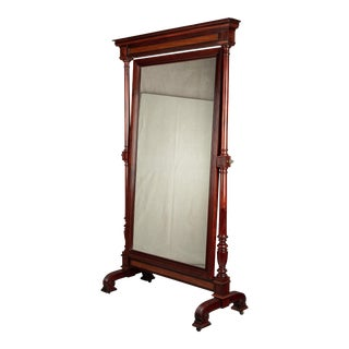 19th Century French Empire Style Mahogany Cheval Mirror For Sale